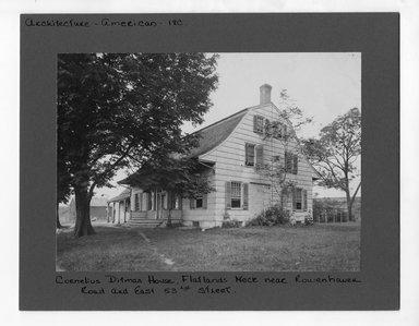 "<em>""Cornelius Ditmas House, Flatlands Neck, near Rowenhaven Road and East 53rd Street.""</em>. Bw photograph, 6.5 x 9in (16.5 x 22.9cm). Brooklyn Museum, CHART_2012. (NA202_C68_box3_Cornelius_Ditmas_House.jpg"