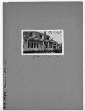 "<em>""Lefferts Homestead, c 1800.""</em>. Printed material, 2.75 x 4.5in (7 x 11.4cm). Brooklyn Museum, CHART_2012. (NA202_C68_box3_Lefferts_Homestead_view1.jpg"