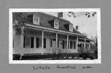 "<em>""Lefferts Homestead, c 1801.""</em>. Printed material, 2.75 x 4.5in (7 x 11.4cm). Brooklyn Museum, CHART_2012. (NA202_C68_box3_Lefferts_Homestead_view1_detail.jpg"