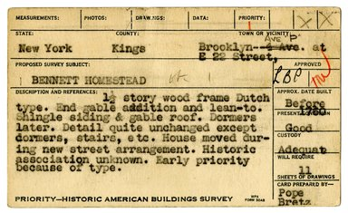 "<em>""Preliminary survey of the Bennett homestead prepared for the Historic American Buildings Survey.""</em>, ca. 1936. Printed matter, 3 x 5in. Brooklyn Museum, CHART_2011. (NA735_B8_H621b_HABS_Bennett_Homestead_01_recto.jpg"