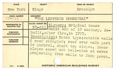 "<em>""Preliminary survey of the Lefferts homestead prepared for the Historic American Buildings Survey.""</em>, ca. 1936. Printed matter, 3 x 5in. Brooklyn Museum, CHART_2011. (NA735_B8_H621r_HABS_Lefferts_Homestead_01.jpg"