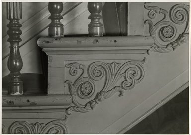 "<em>""Side of stairs, main hall. Lay House, 11 Cranberry Street, Brooklyn, N.Y. (detail).""</em>. Bw photographic print, 5 x 7 in (13 x 16 cm). Brooklyn Museum, CHART_2011. (Photo: Brooklyn Museum, NA735_B8_L45_Lay_House_neg1568-C_print.jpg"