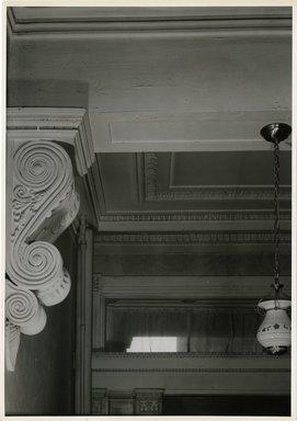 "<em>""Console, front hall. Lay House, 11 Cranberry Street, Brooklyn, N.Y. (detail).""</em>. Bw photographic print, 5 x 7 in (13 x 16 cm). Brooklyn Museum, CHART_2011. (Photo: Brooklyn Museum, NA735_B8_L45_Lay_House_neg1568-D_print.jpg"