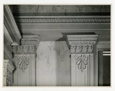 "<em>""Tops of twin columns in north wall of main room between west and double door. Lay House, 11 Cranberry Street, Brooklyn, N.Y. (detail).""</em>. Bw photographic print, 5 x 7 in (13 x 16 cm). Brooklyn Museum, CHART_2011. (Photo: Brooklyn Museum, NA735_B8_L45_Lay_House_neg1568-L_print.jpg"