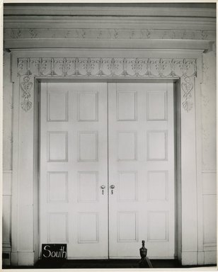 "<em>""Large double doors, 2nd floor. Lay House, 11 Cranberry Street, Brooklyn, N.Y.""</em>. Bw photographic print, 5 x 7 in (13 x 16 cm). Brooklyn Museum, CHART_2011. (Photo: Brooklyn Museum, NA735_B8_L45_Lay_House_neg1568-R_print.jpg"