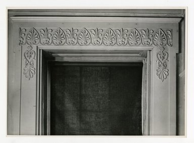 "<em>""Area over window, 2nd floor. Lay House, 11 Cranberry Street, Brooklyn, N.Y. (detail).""</em>. Bw photographic print, 5 x 7 in (13 x 16 cm). Brooklyn Museum, CHART_2011. (Photo: Brooklyn Museum, NA735_B8_L45_Lay_House_neg1568-T_print.jpg"