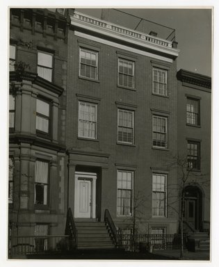"<em>""Front view. Lay House, 11 Cranberry Street, Brooklyn, N.Y.""</em>. Bw photographic print, 5 x 7 in (13 x 16 cm). Brooklyn Museum, CHART_2011. (Photo: Brooklyn Museum, NA735_B8_L45_Lay_House_neg1568_print.jpg"