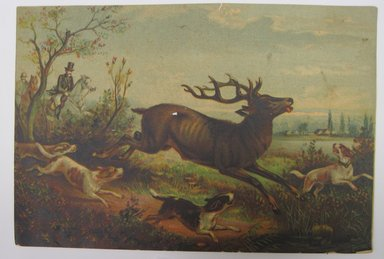"<em>""Color print of stag running with dogs. Reverse has ad for Palais Royal and stamp in purple 'William Lycett / Teacher of China Painting' and handwritten Lycett.""</em>. Printed material. Brooklyn Museum. (NK4210_L98_F14_Lycett_inv250.jpg"