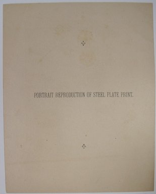 """<em>""""Printed card with roundel of a woman's portrait. Reverse has words 'Portrait Reproduction of Steel Plate Print.'""""</em>. Printed material. Brooklyn Museum. (NK4210_L98_F14_Lycett_inv253_verso.jpg"""