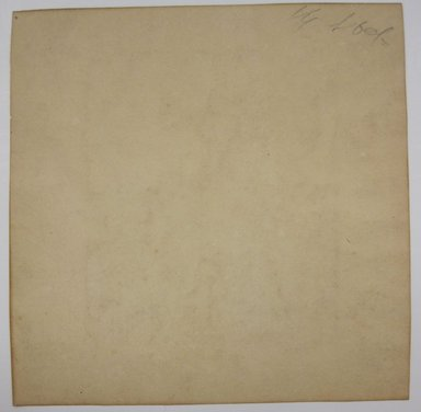 """<em>""""Ink painting (or print) of boy sitting on rocks with musical instrument. Reverse has illegible pencil marks.""""</em>. Printed material. Brooklyn Museum. (NK4210_L98_F14_Lycett_inv273_verso.jpg"""