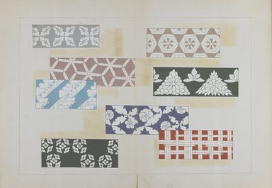 "<em>""Textile designs from Classical patterns for dyeing, volume 1, Monyo no maki.""</em>. Printed material, 17 x 12 in (30.5 x 48 cm). Brooklyn Museum. (Photo: Brooklyn Museum, NK8884_K17h_Hana_Shishu_v01_page04-05_PS3.jpg"