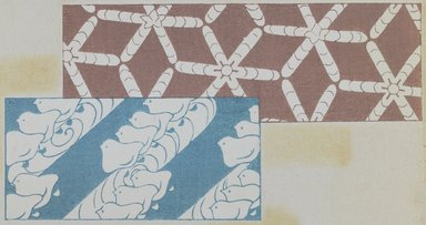 "<em>""Textile designs from Classical patterns for dyeing, volume 1, Monyo no maki, detail.""</em>. Printed material, 17 x 12 in (30.5 x 48 cm). Brooklyn Museum. (Photo: Brooklyn Museum, NK8884_K17h_Hana_Shishu_v01_page04-05_detail3_PS3.jpg"