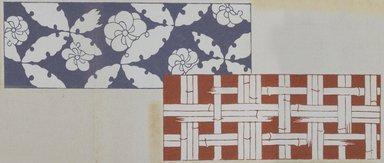 "<em>""Textile designs from Classical patterns for dyeing, volume 1, Monyo no maki, detail.""</em>. Printed material, 17 x 12 in (30.5 x 48 cm). Brooklyn Museum. (Photo: Brooklyn Museum, NK8884_K17h_Hana_Shishu_v01_page04-05_detail5_PS3.jpg"
