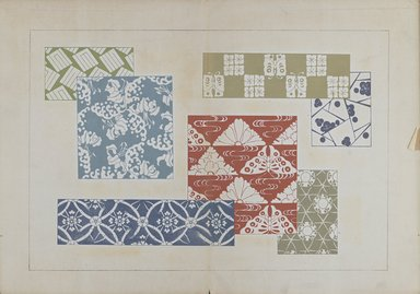 "<em>""Textile designs from Classical patterns for dyeing, volume 1, Monyo no maki.""</em>. Printed material, 17 x 12 in (30.5 x 48 cm). Brooklyn Museum. (Photo: Brooklyn Museum, NK8884_K17h_Hana_Shishu_v01_page06-07_PS3.jpg"