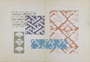 "<em>""Textile designs from Classical patterns for dyeing, volume 1, Monyo no maki.""</em>. Printed material, 17 x 12 in (30.5 x 48 cm). Brooklyn Museum. (Photo: Brooklyn Museum, NK8884_K17h_Hana_Shishu_v01_page08-09_PS3.jpg"