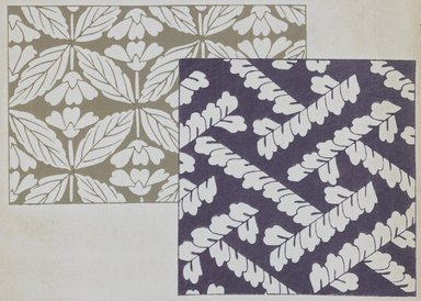 "<em>""Textile designs from Classical patterns for dyeing, volume 1, Monyo no maki, detail.""</em>. Printed material, 17 x 12 in (30.5 x 48 cm). Brooklyn Museum. (Photo: Brooklyn Museum, NK8884_K17h_Hana_Shishu_v01_page08-09_detail1_PS3.jpg"