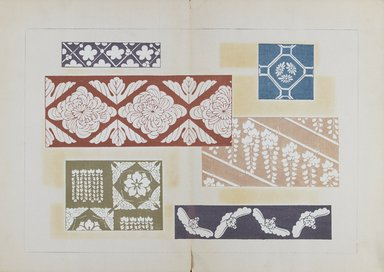 "<em>""Textile designs from Classical patterns for dyeing, volume 1, Monyo no maki.""</em>. Printed material, 17 x 12 in (30.5 x 48 cm). Brooklyn Museum. (Photo: Brooklyn Museum, NK8884_K17h_Hana_Shishu_v01_page10-11_PS3.jpg"