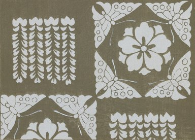 "<em>""Textile designs from Classical patterns for dyeing, volume 1, Monyo no maki, detail.""</em>. Printed material, 17 x 12 in (30.5 x 48 cm). Brooklyn Museum. (Photo: Brooklyn Museum, NK8884_K17h_Hana_Shishu_v01_page10-11_detail5_PS3.jpg"