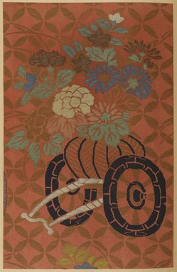 """<em>""""Floral design with wagon.""""</em>. Published material. Brooklyn Museum. (Photo: Brooklyn Museum, NK8984_An2_vol6_pl18_PS9.jpg"""