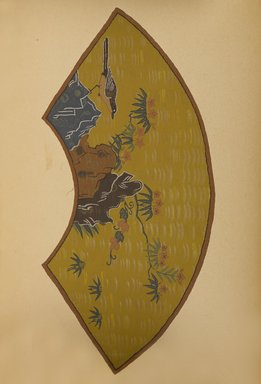 "<em>""Fan-shaped design with bird, rocks, and plants.""</em>. Published material. Brooklyn Museum. (Photo: Brooklyn Museum, NK8984_An2_vol6_pl23_PS9.jpg"