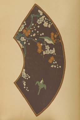 """<em>""""Fan-shaped design with birds and flowering boughs.""""</em>. Published material. Brooklyn Museum. (Photo: Brooklyn Museum, NK8984_An2_vol6_pl24_PS9.jpg"""