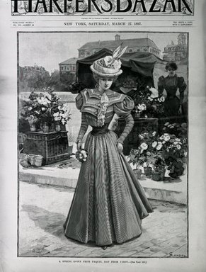 "<em>""A spring gown from Paquin, hat from Virot.""</em>, 1897. Bw negative 4x5in. Brooklyn Museum. (Photo: Brooklyn Museum, PER_Harpers_Bazaar_1897_03_27_cover_Spring_Gown.jpg"