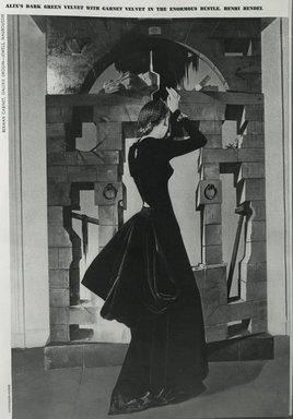 """<em>""""Aix's dark green velvet with garnet velvet in the enourmous bustle. Henri Bendel. Model: Alix.""""</em>, 1939. Bw negative 4x5in. Brooklyn Museum. (Photo: Brooklyn Museum, PER_Harpers_Bazaar_1939_09_01_p69_Alix_Dark_Green_Velvet.jpg"""