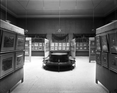 """<em>""""Brooklyn Museum building: interior. View: Painting and Sculpture: Tissot Gallery [01], n.d. Paintings and circular bench. Floor: 5.""""</em>. Glass negative 8x10in, 8 x 10 in. Brooklyn Museum, CHART_2013. (Photo: Brooklyn Museum, PHO_INT_VIEW_PSC_Tissot_Gallery_01_001_glass_bw.jpg"""