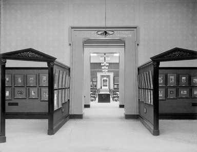 "<em>""Brooklyn Museum building: interior. View: Painting and Sculpture: Tissot Gallery: entrance, n.d. Floor: 5.""</em>. Glass negative 8x10in, 8 x 10 in. Brooklyn Museum, CHART_2013. (Photo: Brooklyn Museum, PHO_INT_VIEW_PSC_Tissot_Gallery_entrance_001_glass_bw.jpg"