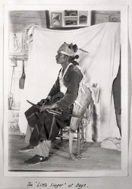 """<em>""""The 'Little Singer' at Days. Photographed by Charles L. Day.""""</em>. Bw photographic print. Brooklyn Museum, tipi. (Photo: Charles L. Day, S01_02.01.002_Little_Singer_at_Days_1903_p011a_SL1.jpg"""