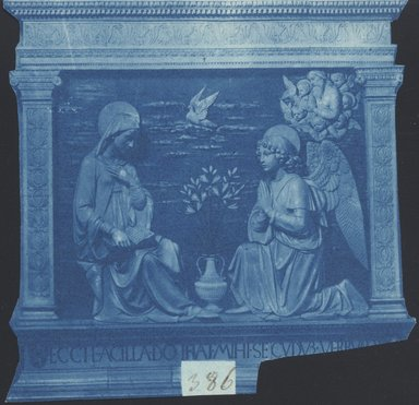 "<em>""Andrea della Robbia, Anunciation, Sanctuary of La Verna in Arezzo, Tuscany, Italy, n.d.""</em>. Bw photographic print 5x7in, 5 x 7 in. Brooklyn Museum, Goodyear. (Photo: Brooklyn Museum, S03i0047v01.jpg"