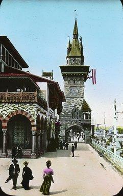 "<em>""Paris Exposition: Bosnia-Herzegovinian Pavilion, Paris, France, 1900""</em>, 1900. Lantern slide 3.25x4in, 3.25 x 4 in. Brooklyn Museum, Goodyear. (Photo: Brooklyn Museum, S03i1506l01.jpg"