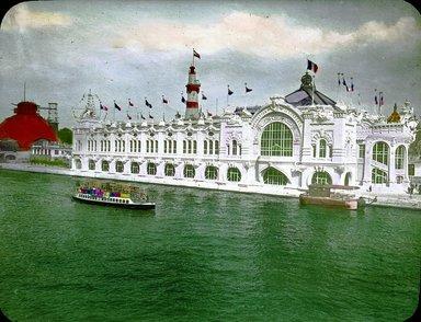"<em>""Paris Exposition: Commercial Navigation Building, Paris, France, 1900""</em>, 1900. Lantern slide 3.25x4in, 3.25 x 4 in. Brooklyn Museum, Goodyear. (Photo: Brooklyn Museum, S03i1508l01.jpg"