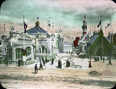 "<em>""Paris Exposition: Commercial Navigation Building and Quai d'Orsay, Paris, France, 1900""</em>, 1900. Lantern slide 3.25x4in, 3.25 x 4 in. Brooklyn Museum, Goodyear. (Photo: Brooklyn Museum, S03i1509l01.jpg"