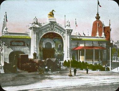 "<em>""Paris Exposition: Forestry Palace, Paris, France, 1900""</em>, 1900. Lantern slide 3.25x4in, 3.25 x 4 in. Brooklyn Museum, Goodyear. (Photo: Brooklyn Museum, S03i1511l01.jpg"