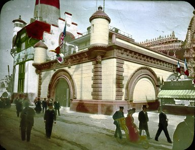 "<em>""Paris Exposition: Quai d'Orsay, German Maritime Building, Paris, France, 1900""</em>, 1900. Lantern slide 3.25x4in, 3.25 x 4 in. Brooklyn Museum, Goodyear. (Photo: Brooklyn Museum, S03i1551l01.jpg"