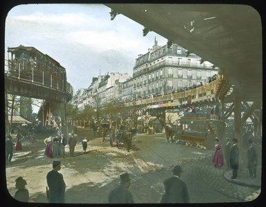 "<em>""Paris Exposition: rolling platform, Paris, France, 1900""</em>, 1900. Lantern slide 3.25x4in, 3.25 x 4 in. Brooklyn Museum, Goodyear. (Photo: Brooklyn Museum, S03i1553l01_SL1.jpg"