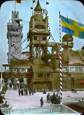 "<em>""Paris Exposition: Swedish Pavilion, Paris, France, 1900""</em>, 1900. Lantern slide 3.25x4in, 3.25 x 4 in. Brooklyn Museum, Goodyear. (Photo: Brooklyn Museum, S03i1555l01.jpg"