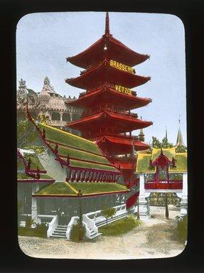 "<em>""Paris Exposition: Tour du Monde and Siamese Pavilion, Paris, France, 1900""</em>, 1900. Lantern slide 3.25x4in, 3.25 x 4 in. Brooklyn Museum, Goodyear. (Photo: Brooklyn Museum, S03i1557l01_SL1.jpg"