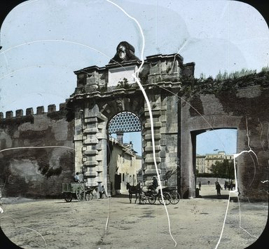"<em>""Gate of St. John, Rome, Italy""</em>. Lantern slide 3.25x4in, 3.25 x 4 in. Brooklyn Museum, Goodyear. (Photo: T.H. McAllister, S03i2741l01.jpg"