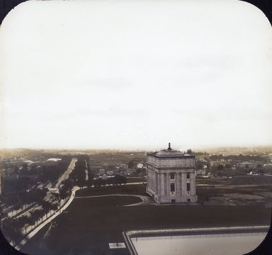 "<em>""Brooklyn Museum: exterior. View of the West Wing from Mount Prospect Reservoir, showing completed West Wing and surrounding open fields, 1898.""</em>, 1898. Color transparency 4x5in, 4 x 5in (10.2 x 12.7 cm). Brooklyn Museum, Museum building. (Photo: Brooklyn Museum, S06_BEEi077.jpg"