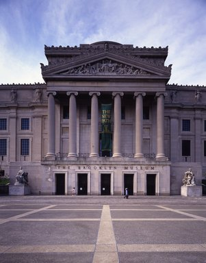 "<em>""Brooklyn Museum: exterior. View of the Central section from the entrance pathway, showing The New Path banner, 1985.""</em>, 1985. Color transparency 4x5in, 4 x 5in (10.2 x 12.7 cm). Brooklyn Museum, Museum building. (Photo: Brooklyn Museum, S06_BEEi113.jpg"