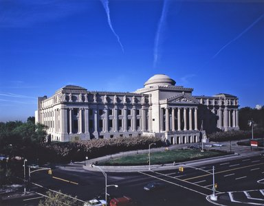 "<em>""Brooklyn Museum: exterior. View of the Eastern Parkway façade from the northeast, showing jet contrails above the museum, n.d. (ca. 1987).""</em>, 1987. Color transparency 4x5in, 4 x 5in (10.2 x 12.7 cm). Brooklyn Museum, Museum building. (Photo: Brooklyn Museum, S06_BEEi116.jpg"