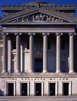"""<em>""""Brooklyn Museum: exterior. View of the Central section from the entrance pathway, 1987.""""</em>, 1987. Color transparency 4x5in, 4 x 5in (10.2 x 12.7 cm). Brooklyn Museum, Museum building. (Photo: Brooklyn Museum, S06_BEEi118.jpg"""