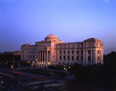 "<em>""Brooklyn Museum: exterior. View of the Eastern Parkway façade from the northwest at night, showing Eastern Parkway in the foreground, 1987.""</em>, 1987. Color transparency 4x5in, 4 x 5in (10.2 x 12.7 cm). Brooklyn Museum, Museum building. (Photo: Brooklyn Museum, S06_BEEi121.jpg"