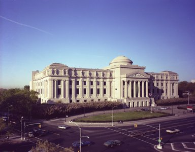 "<em>""Brooklyn Museum: exterior. View of the Eastern Parkway façade from the northeast, showing Eastern Parkway and Washington Avenue in the foreground, 1987.""</em>, 1987. Color negative 4x5in, 4 x 5in (10.2 x 12.7 cm). Brooklyn Museum, Museum building. (Photo: Brooklyn Museum, S06_BEEi122.jpg"