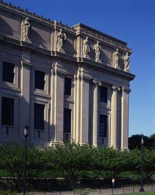 "<em>""Brooklyn Museum: exterior. View of the West Wing from the entrance pathway, showing sculptures (allegorical figures) along Eastern Parkway façade, 1987.""</em>, 1987. Color transparency 4x5in, 4 x 5in (10.2 x 12.7 cm). Brooklyn Museum, Museum building. (Photo: Brooklyn Museum, S06_BEEi129.jpg"