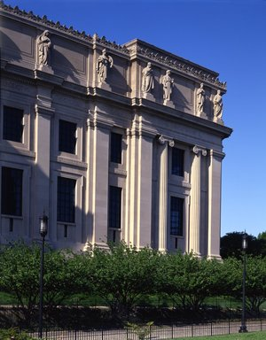 "<em>""Brooklyn Museum: exterior. View of the West Wing from the entrance pathway, showing sculptures (allegorical figures) along Eastern Parkway façade, 1987.""</em>, 1987. Color transparency 4x5in, 4 x 5in (10.2 x 12.7 cm). Brooklyn Museum, Museum building. (Photo: Brooklyn Museum, S06_BEEi130.jpg"