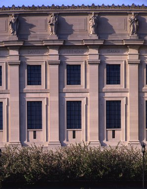 "<em>""Brooklyn Museum: exterior. View of the East Wing from the entrance pathway, showing sculptures (allegorical figures) along Eastern Parkway façade, 1987.""</em>, 1987. Color transparency 4x5in, 4 x 5in (10.2 x 12.7 cm). Brooklyn Museum, Museum building. (Photo: Brooklyn Museum, S06_BEEi131.jpg"
