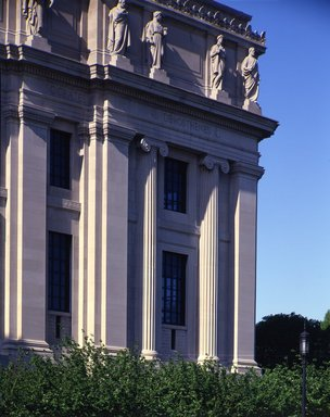 "<em>""Brooklyn Museum: exterior. View of the West Wing from the entrance pathway, showing sculptures (allegorical figures) along Eastern Parkway façade, 1987.""</em>, 1987. Color transparency 4x5in, 4 x 5in (10.2 x 12.7 cm). Brooklyn Museum, Museum building. (Photo: Brooklyn Museum, S06_BEEi132.jpg"